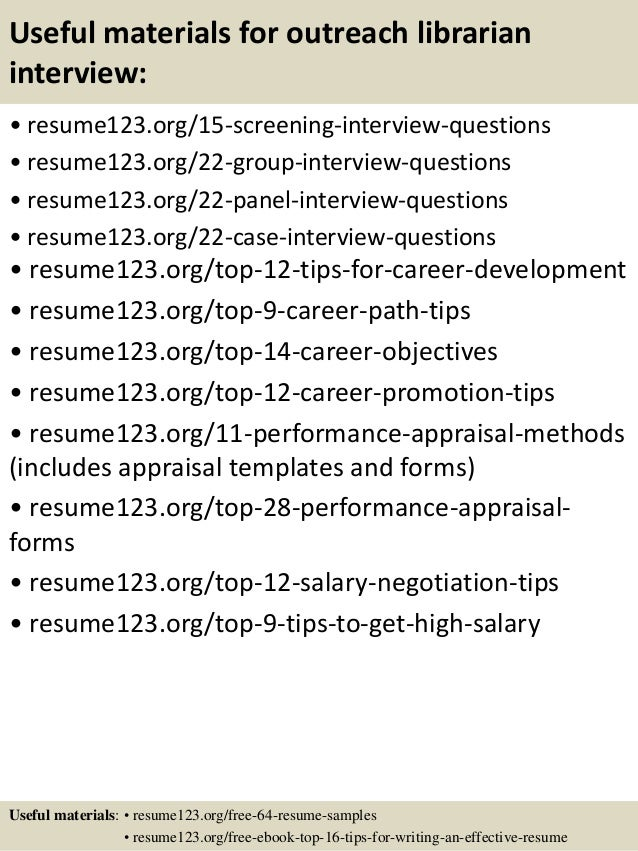 Top  Outreach Librarian Resume Samples