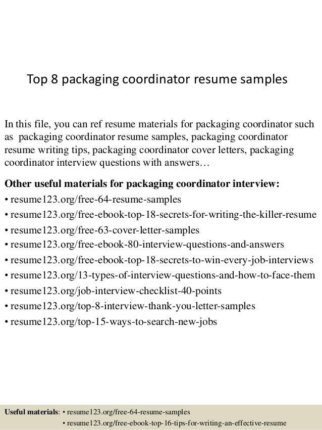 top 8 packaging coordinator resume samples
