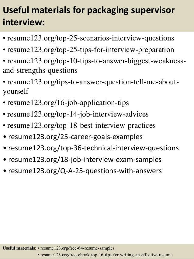 top 8 packaging supervisor resume samples