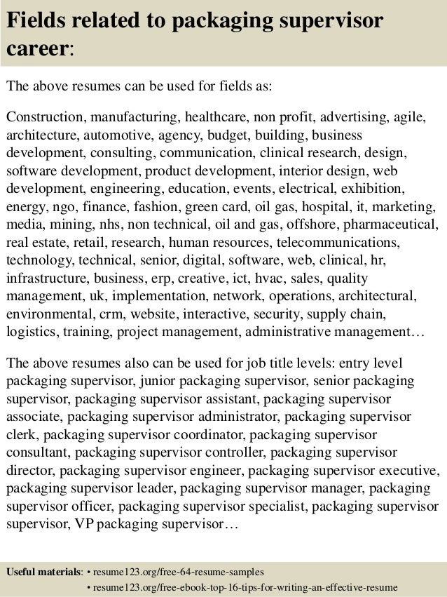 top 8 packaging supervisor resume samples