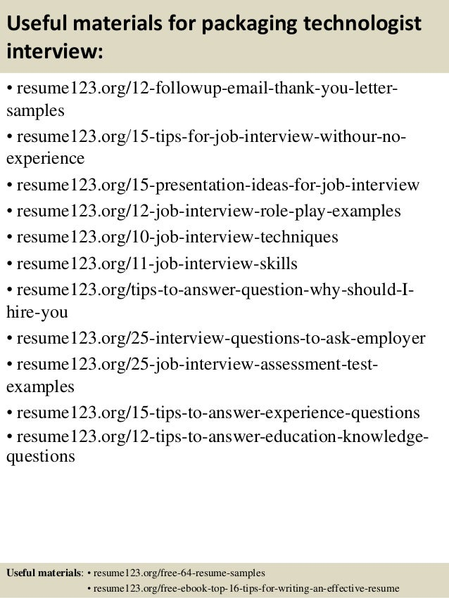 top 8 packaging technologist resume samples