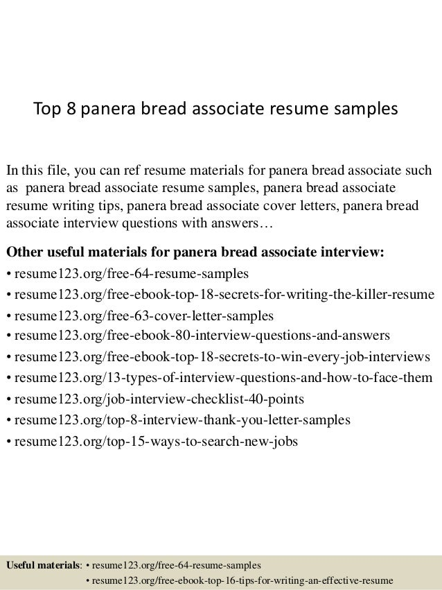 Top 8 panera bread associate resume samples In this file, you can ref resume  materials ...