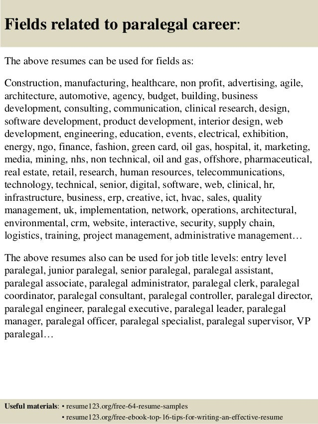 ... 16. Fields Related To Paralegal ...  Paralegal Job Description For Resume