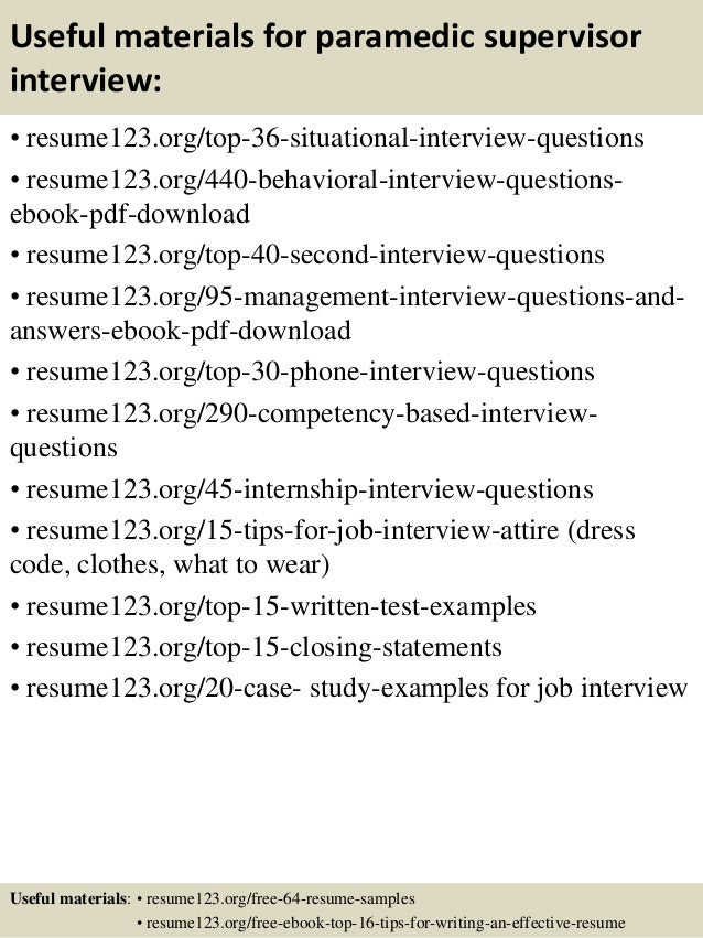 Top 8 paramedic supervisor resume samples