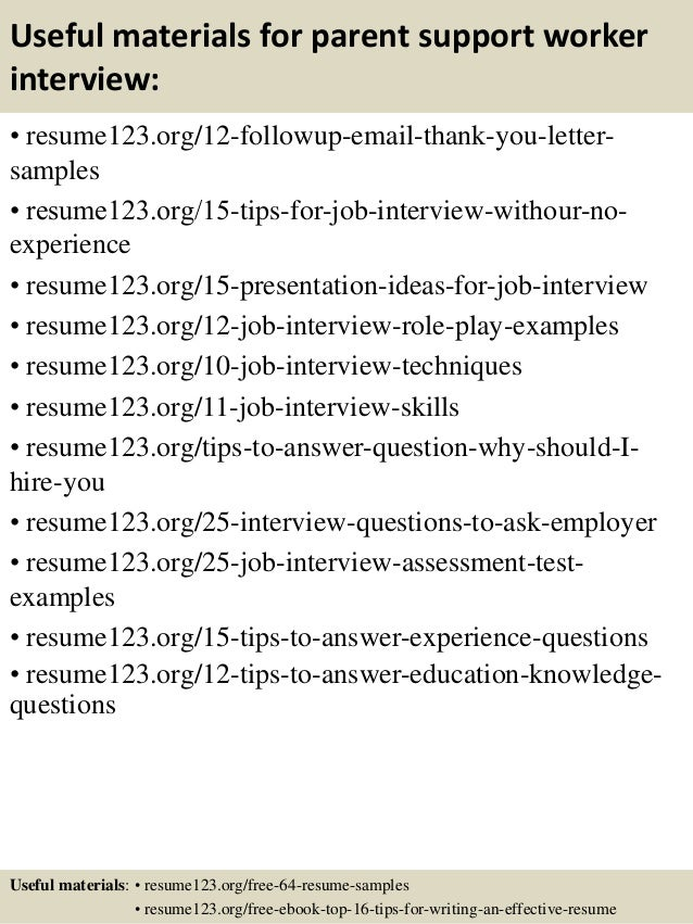 top 8 parent support worker resume samples