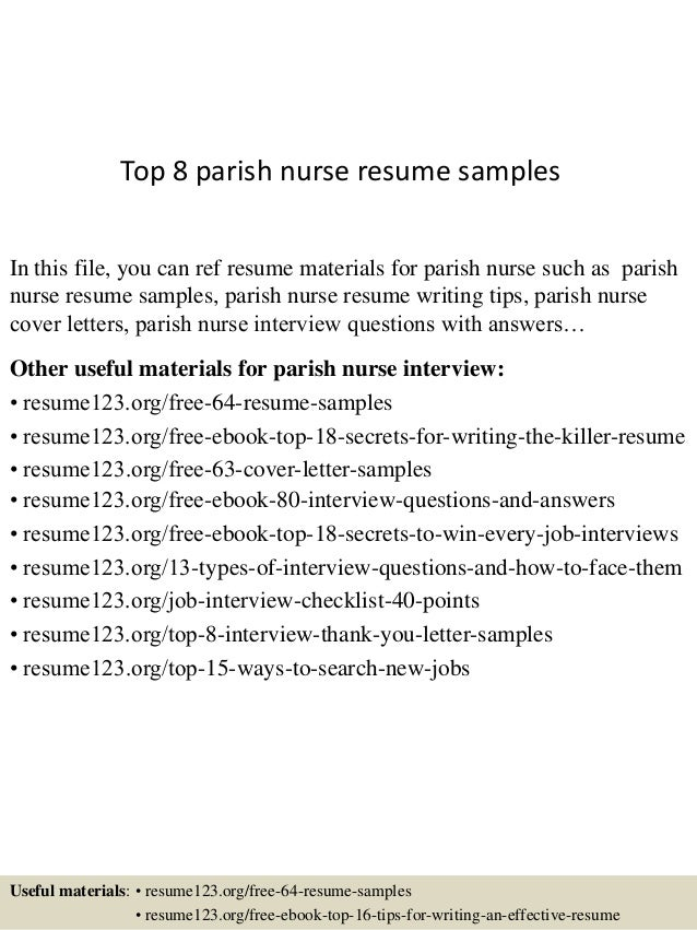 Top 8 Parish Nurse Resume Samples In This File, You Can Ref Resume  Materials For ...
