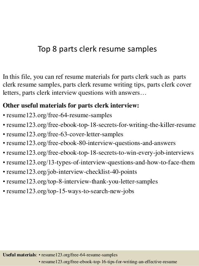 top 8 parts clerk resume samples