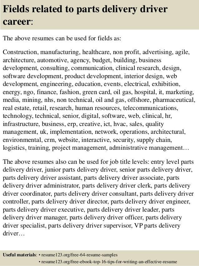 delivery driver cv