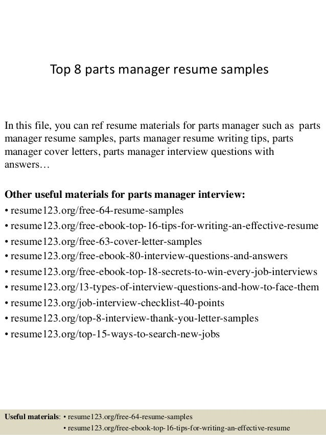 top 8 parts manager resume samples in this file you can ref resume materials for - Manager Resume Format