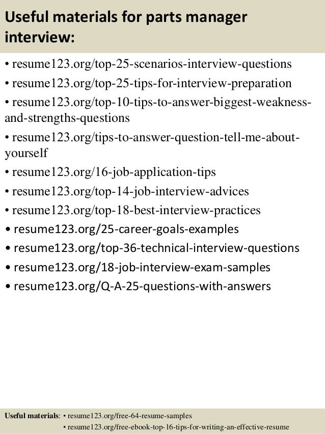 top 8 parts manager resume sles