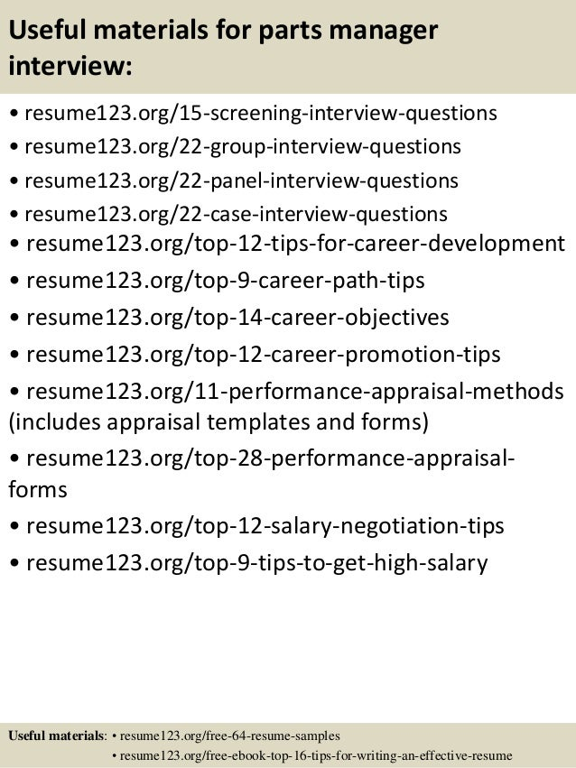top 8 parts manager resume samples