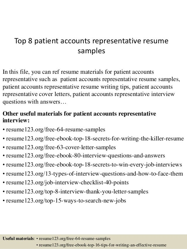 top 8 patient accounts representative resume sles