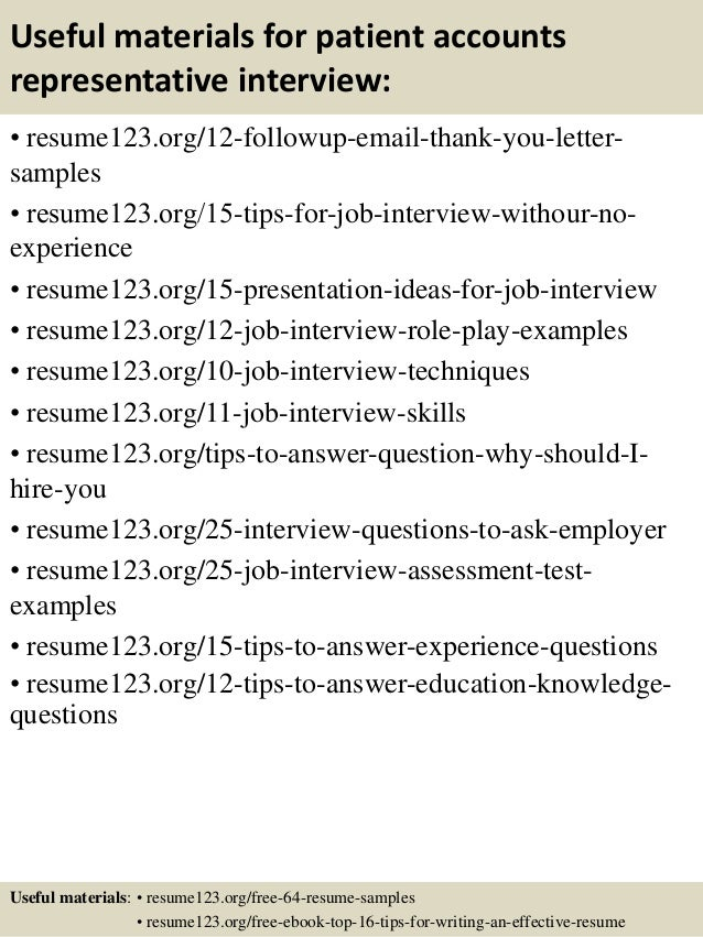 Resume Objective For Patient Service Representative Resume Career ...