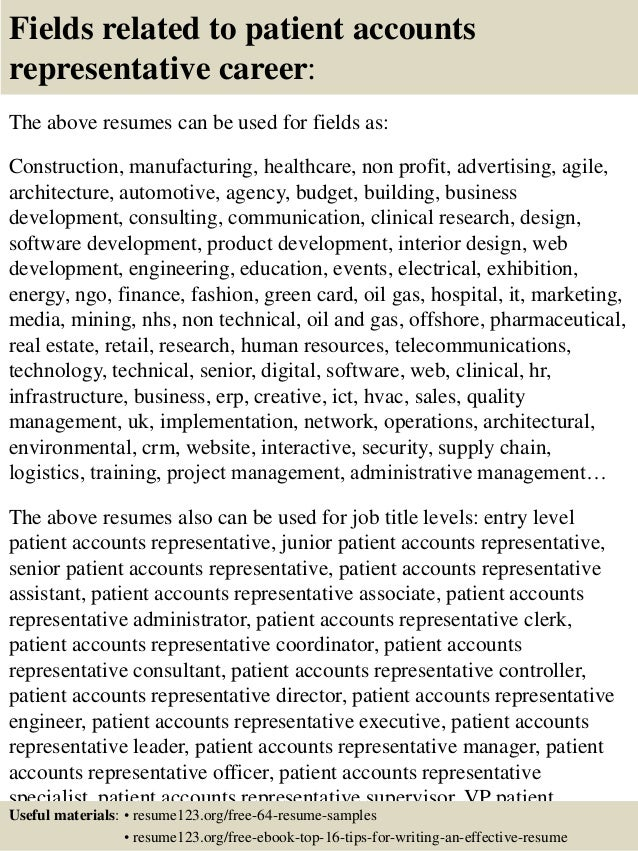 16 fields related to patient accounts representative
