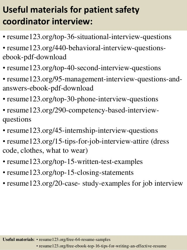 12 useful materials for patient safety coordinator - Safety Coordinator Resume