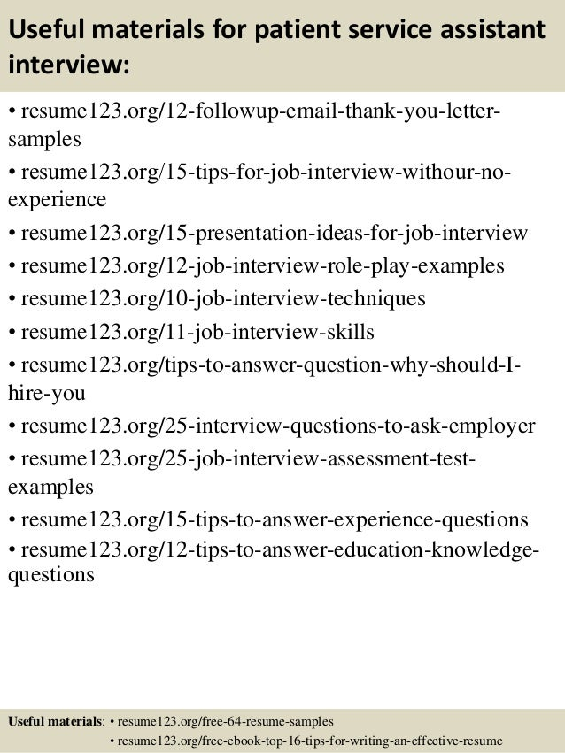 top 8 patient service assistant resume samples
