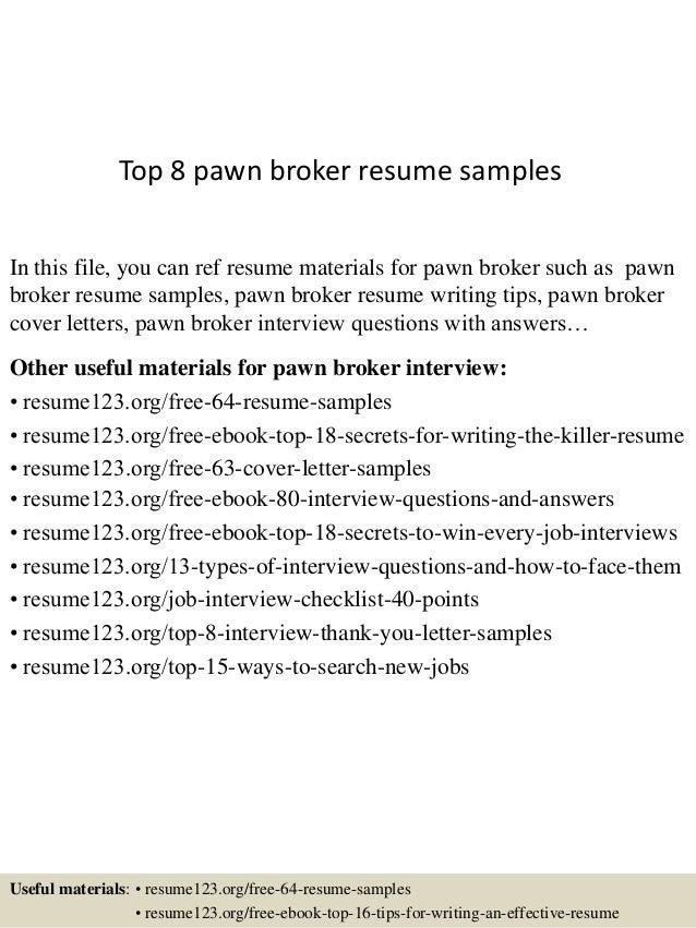 top 8 pawn broker resume samples