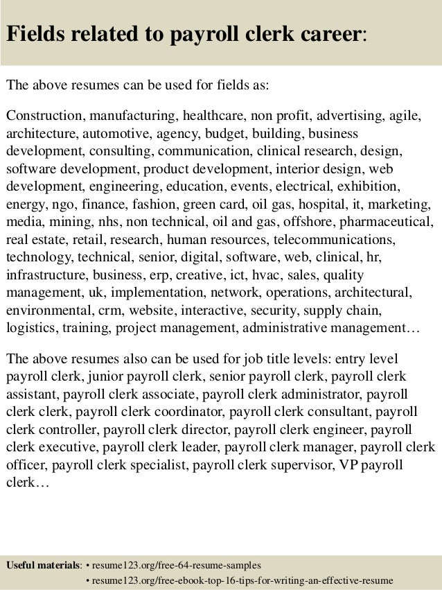 16 fields related to payroll clerk
