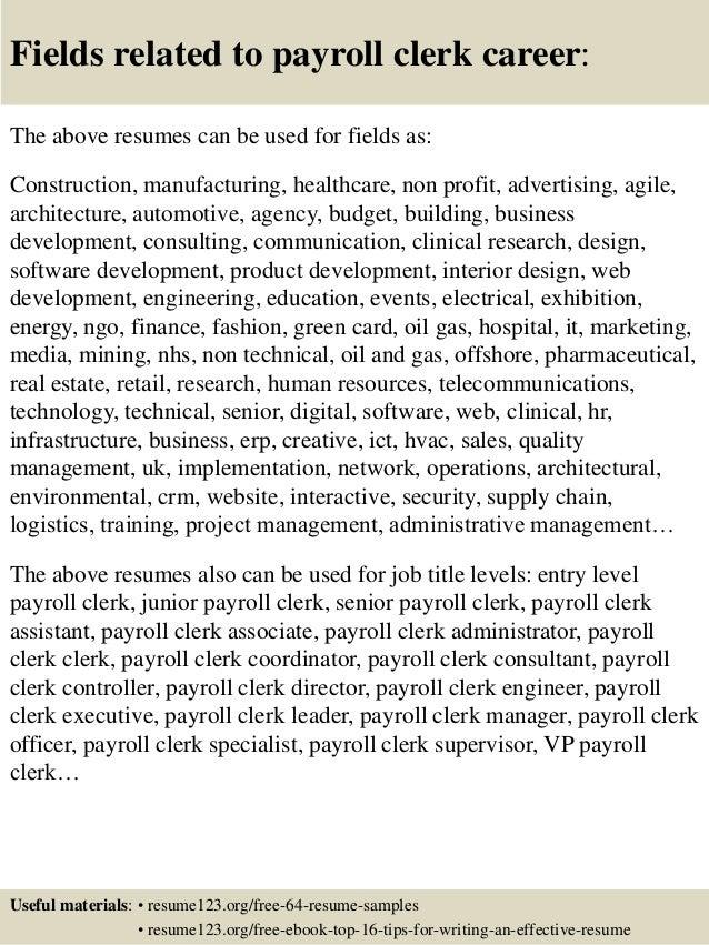 16 fields related to payroll clerk - Payroll Clerk Resume Sample