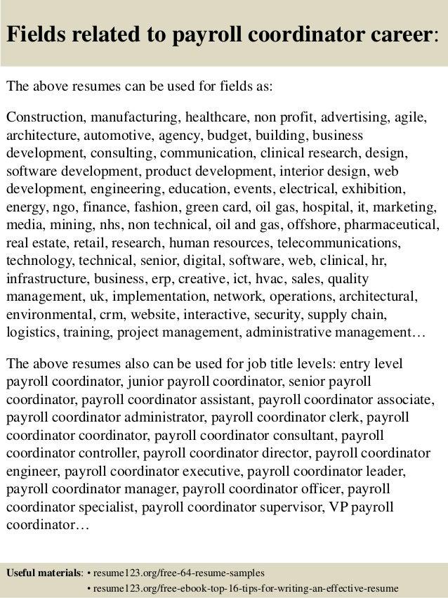 top 8 payroll coordinator resume samples