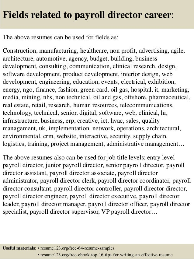 ... 16. Fields related to payroll director ...