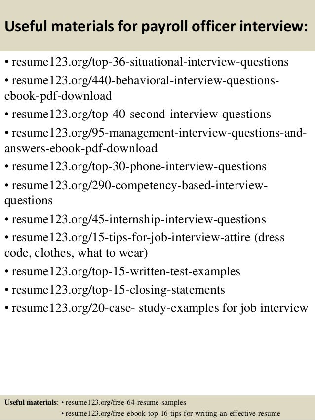 Top 8 payroll officer resume samples