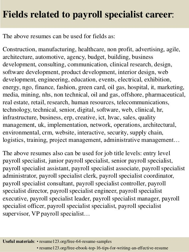 16 fields related to payroll specialist