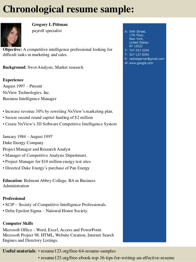 contemporary payroll specialist resume objective component example