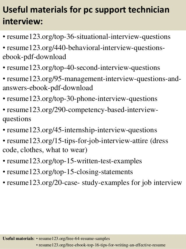 Top 8 pc support technician resume samples