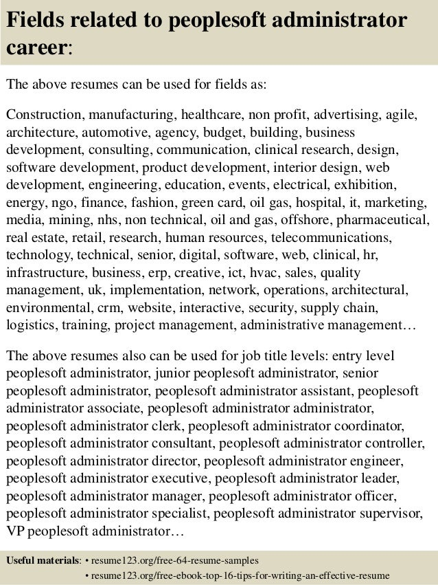16 fields related to peoplesoft administrator peoplesoft administration sample resume