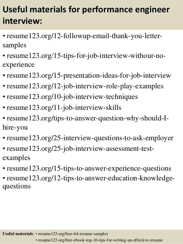 14 useful materials for performance engineer - Performance Engineer Sample Resume
