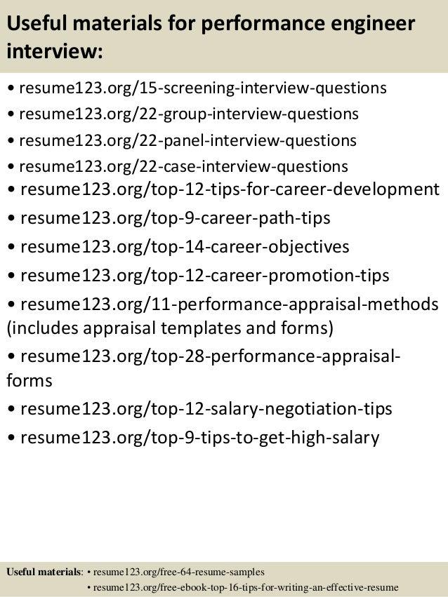 15 useful materials for performance engineer - Performance Engineer Sample Resume