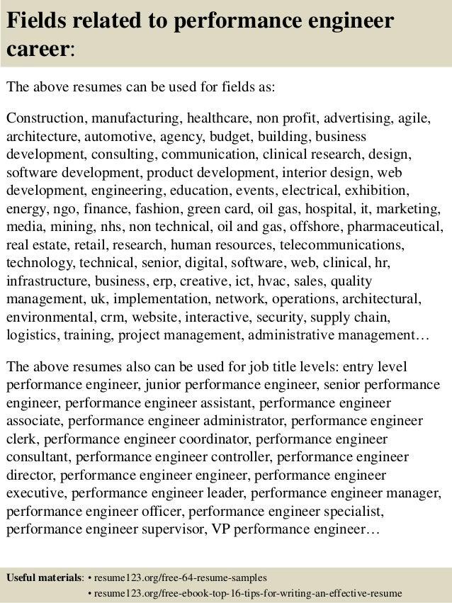 16 fields related to performance engineer - Performance Engineer Sample Resume