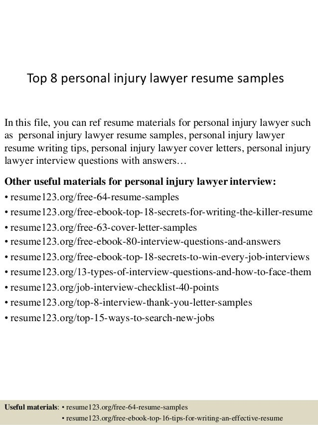 top 8 personal injury lawyer resume samples in this file you can ref resume materials - Lawyer Resume Examples