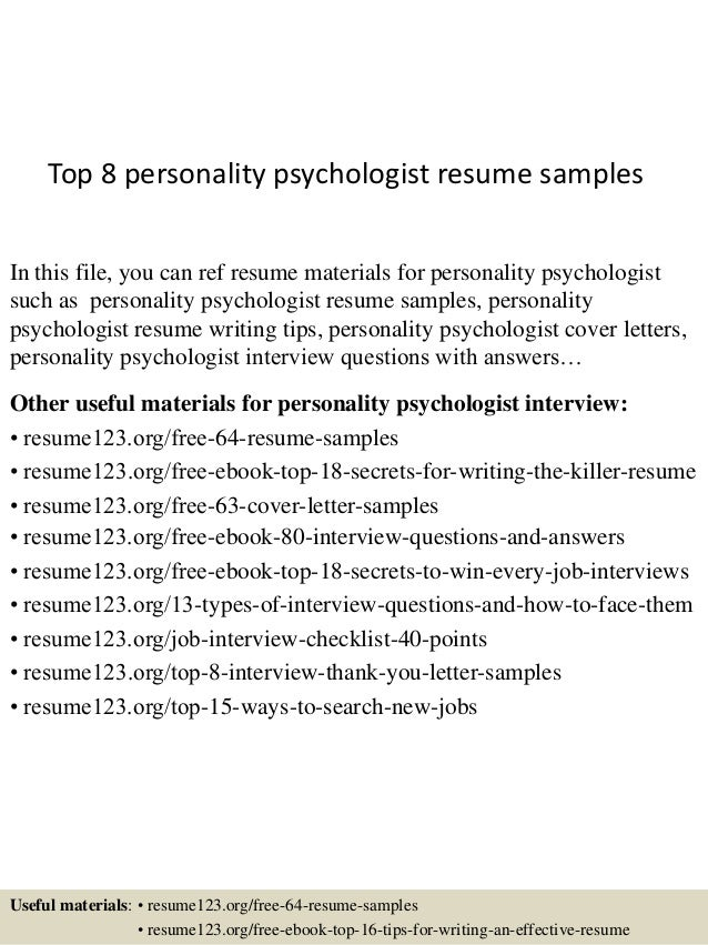 Top 8 Personality Psychologist Resume Samples In This File, You Can Ref  Resume Materials For ...  Psychologist Resume
