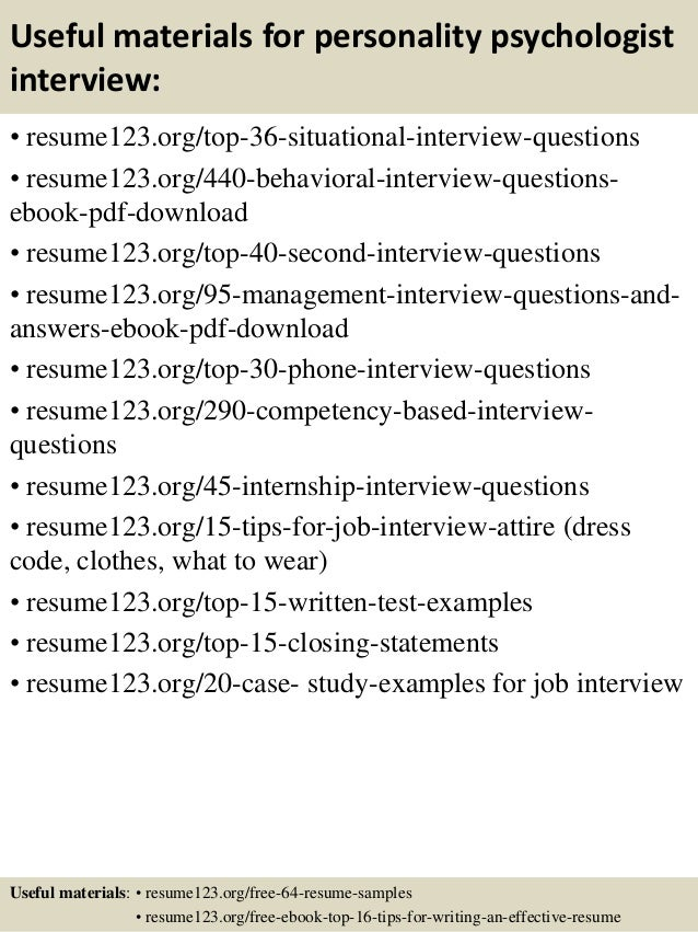 personality based interview questions - Template