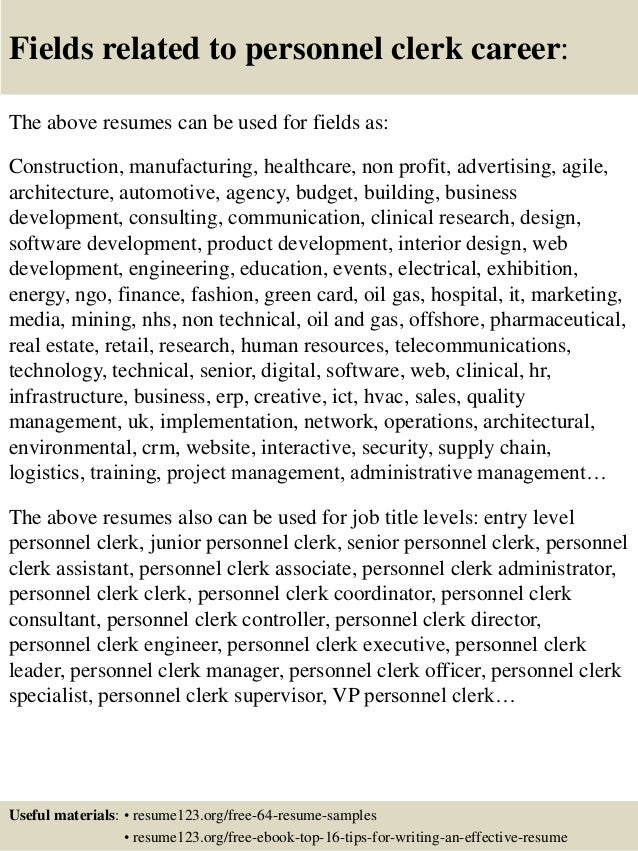 16 fields related to personnel clerk - Personnel Clerk Sample Resume