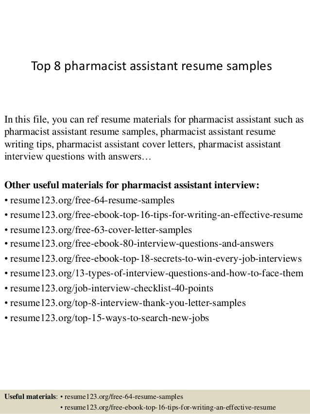 top 8 pharmacist assistant resume samples in this file you can ref resume materials for - Resume Samples For Pharmacist