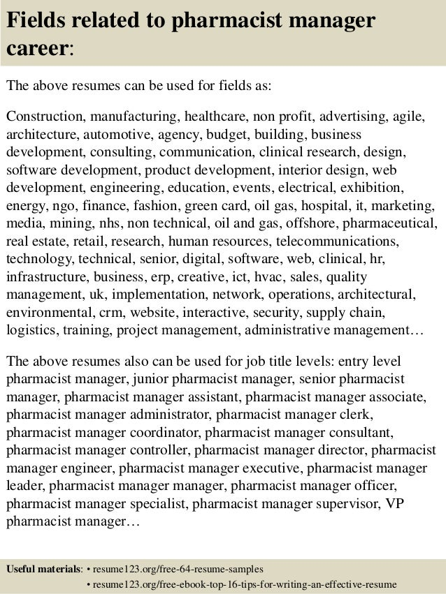 16 Fields Related To Pharmacist Manager