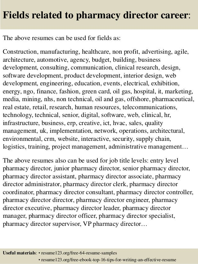Top 8 Pharmacy Director Resume Samples Manager