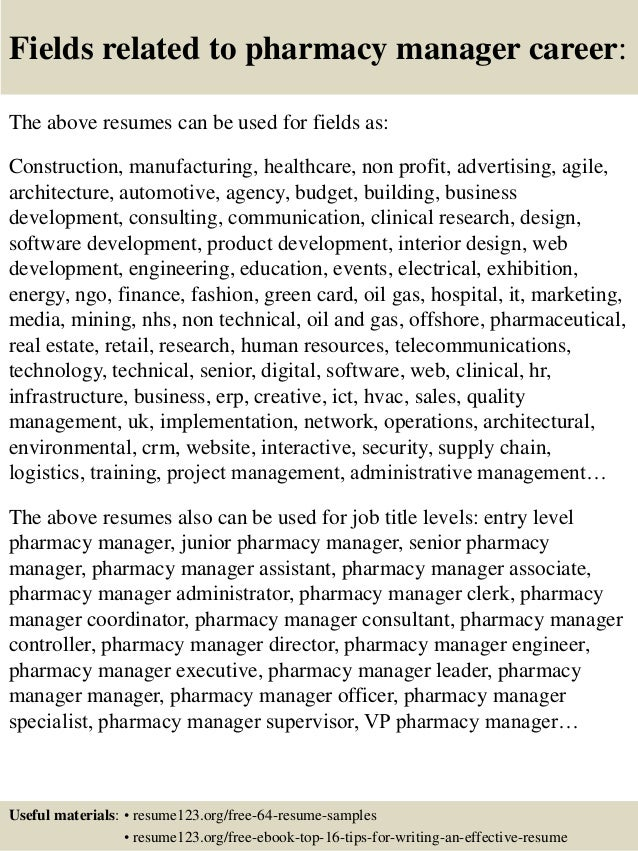 Top 8 Pharmacy Manager Resume Samples