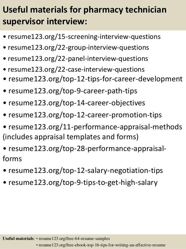 Top 8 pharmacy technician supervisor resume samples