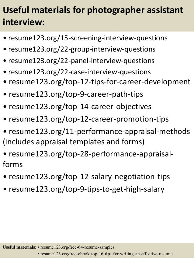 Top 8 photographer assistant resume samples