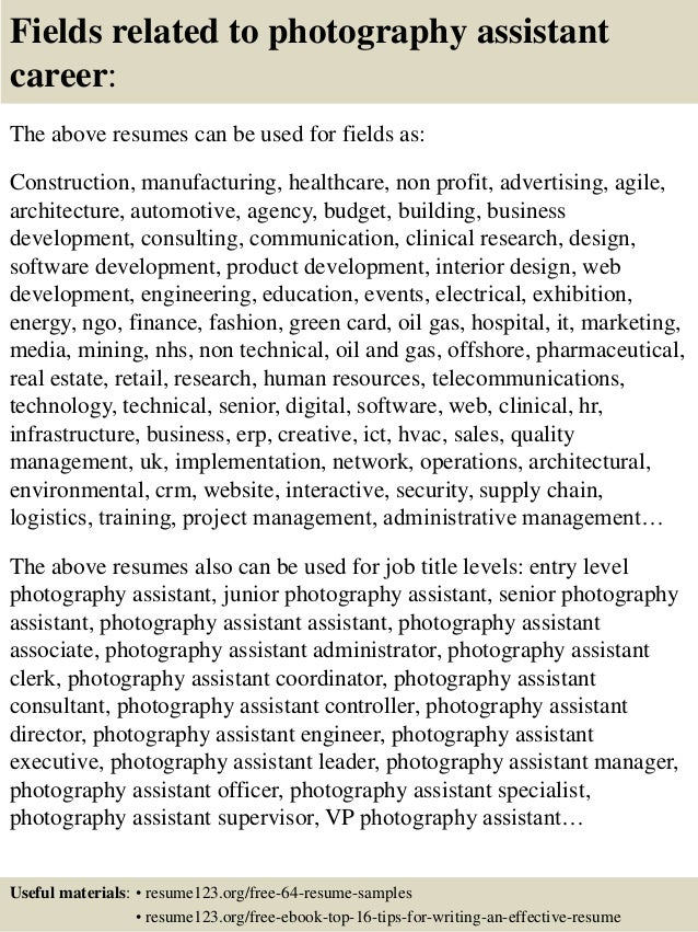 16 fields related to photography assistant photography assistant cover letter