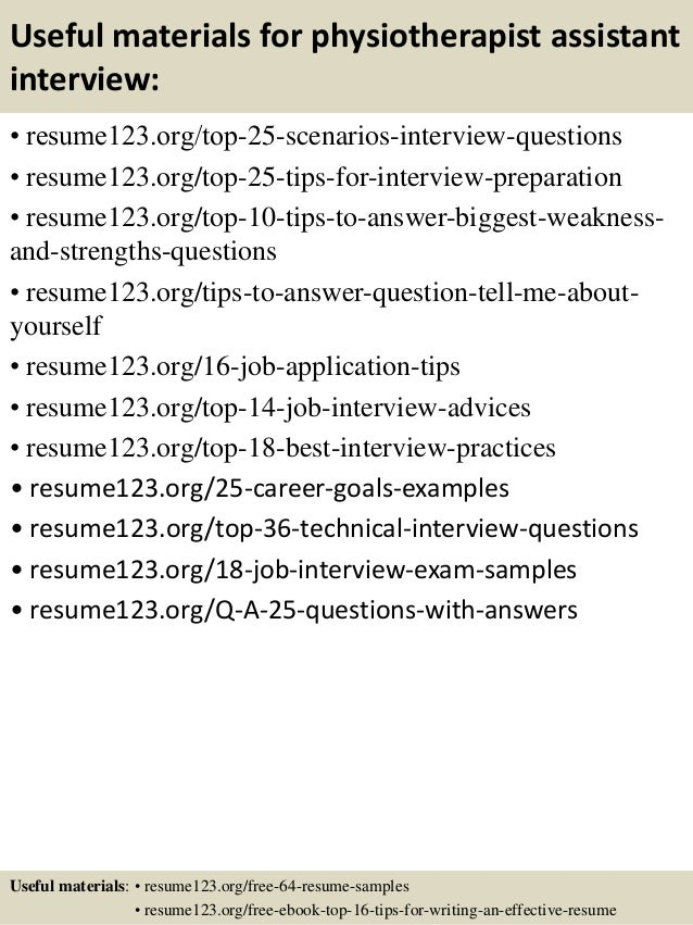 Top 8 physiotherapist assistant resume samples – Physiotherapy Resume Sample