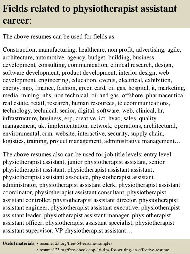 physiotherapy assistant resume example