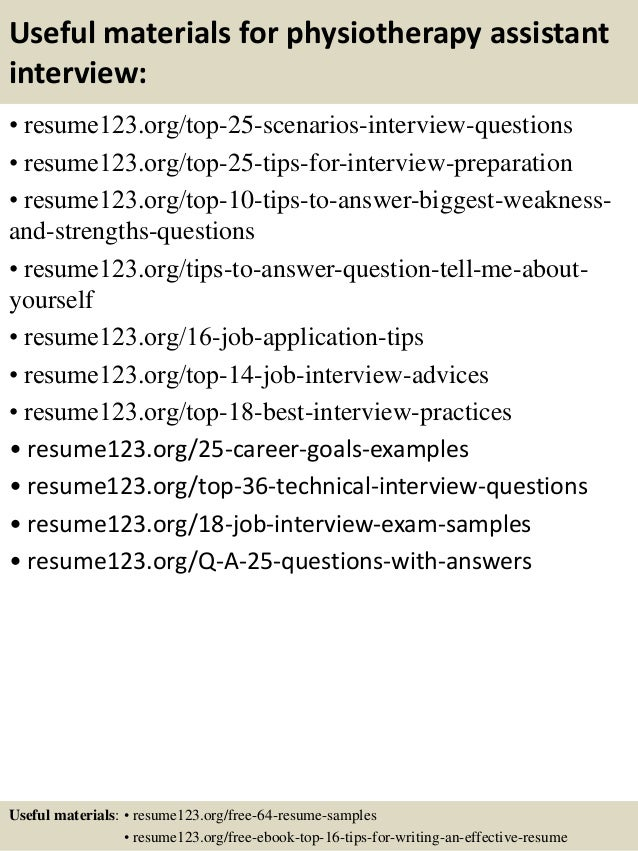Top 8 Physiotherapy Assistant Resume Samples