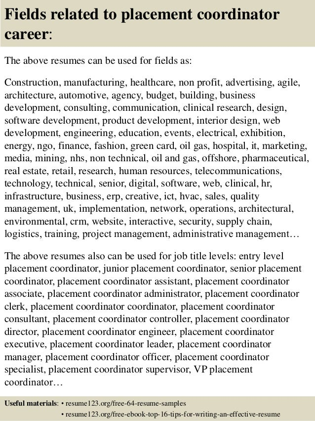 Resume Resume Sample For Job Placement Specialist top 8 placement coordinator resume samples 16 fields related to career the above resumes