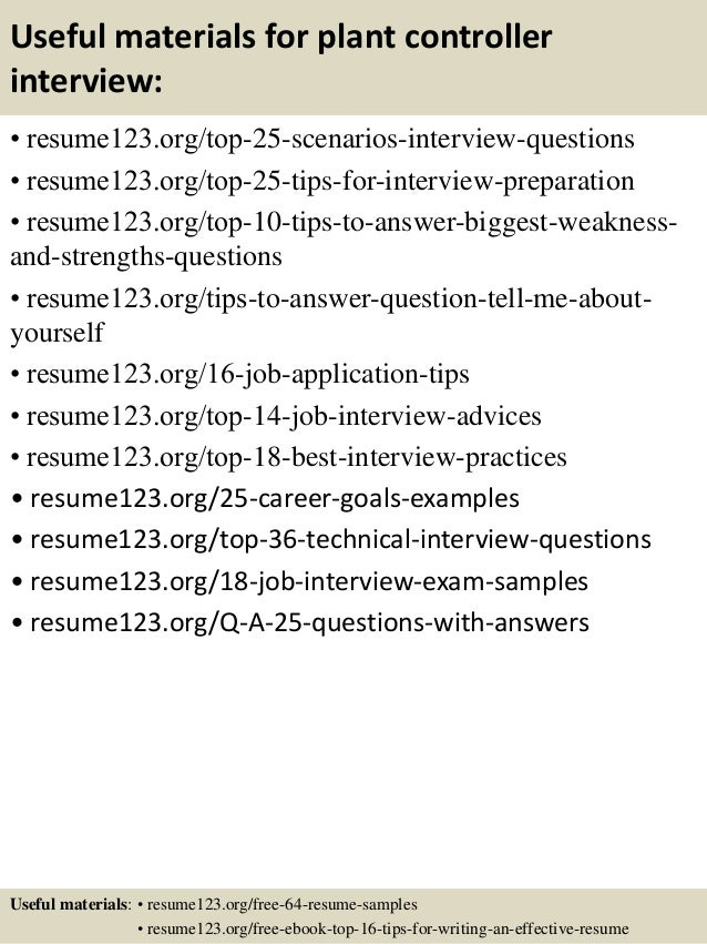 top 8 plant controller resume sles