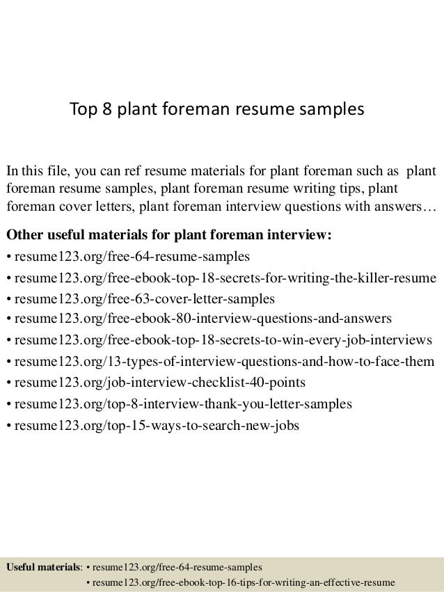 Plant Foreman Resume